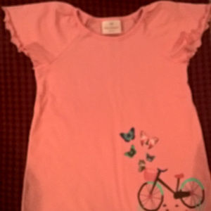HA Pink Flutter Sleeve Top with Bicycle NEW